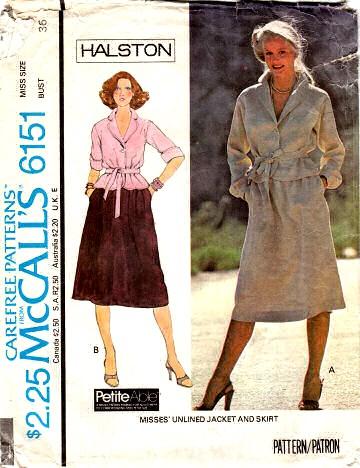 McCalls 6151 Halston Jacekt sewing Pattern