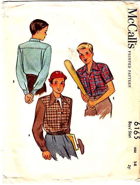 McCalls 6165 1940s Boys Shirt Sewing Pattern