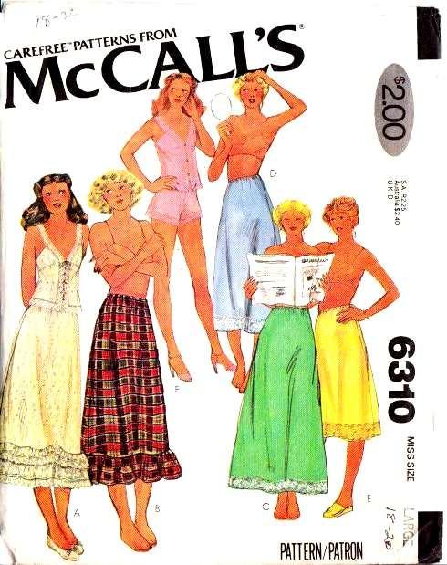 McCalls 6310 Sewing Pattern Petticoat Skirt Camisole Top lingerie panties