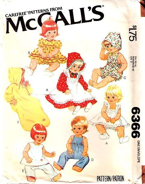 McCalls 6366 Doll Clothing Sewing Pattern