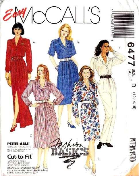 McCalls 6477 Sewing Pattern Shirtwaist Dress 90s Jumpsuit