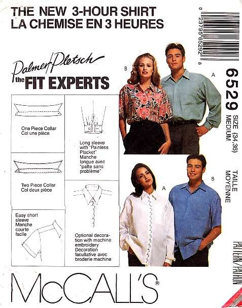 McCalls 6529 Button Front Shirt Sewing Pattern