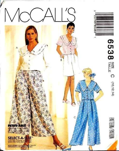 McCalls 6538 Sewing Pattern Culottes Split Skirt Top Shorts