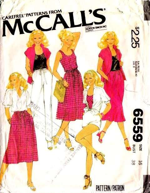 McCalls 6559 70, shorts Tank Top Skirt Pants Shorts Vintage Sewing Pattern