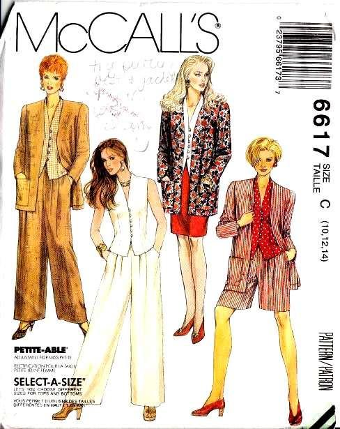McCalls 6617, Sewing, Pattern, Jacket, Top, Skirt, Pants, Shorts