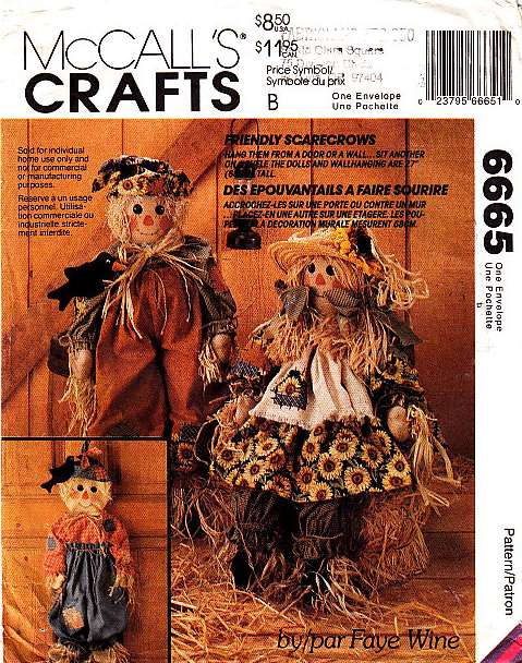 McCalls 6665, Doll, Toy, Sewing Pattern, Scarecrow