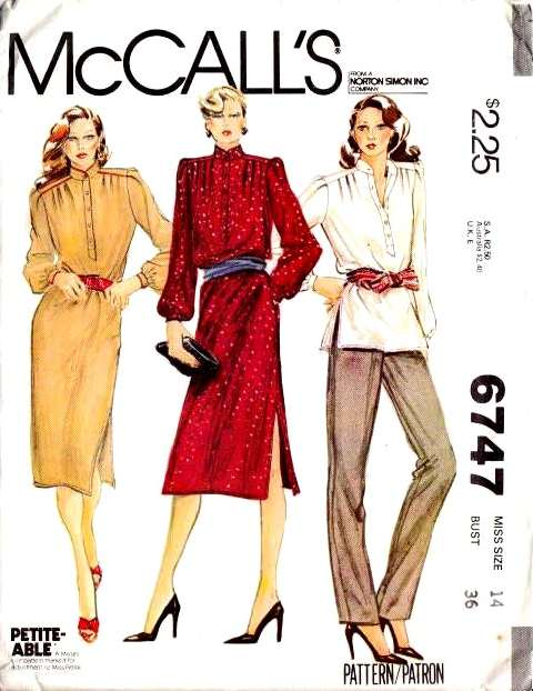 McCalls 6747, Sewing Pattern, Top, Tunic, Pants, Dress, 70s