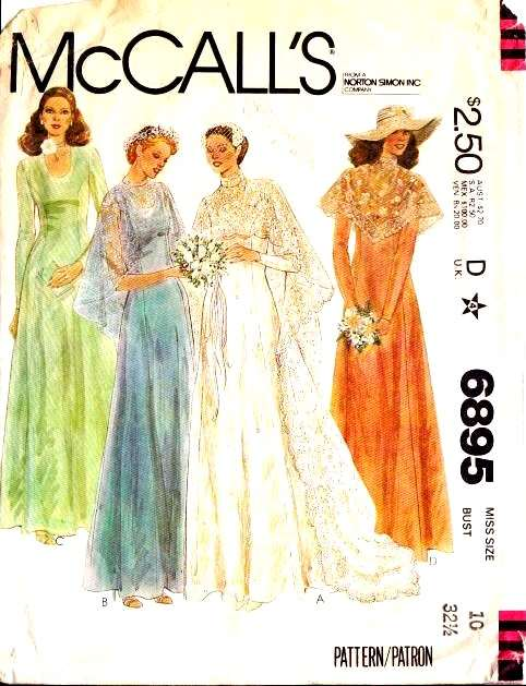McCalls 6895 70s Bridesmaid Wedding Bridal Bride Dress Vintage Sewing Pattern