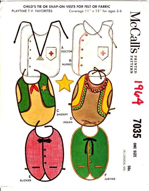 McCalls 7035 Infant bibs Costume sewing Pattern
