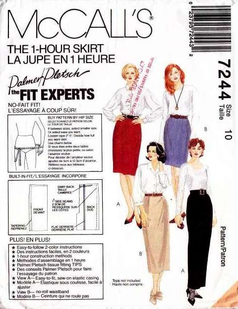 McCalls 7244, 1-Hour, Skirt, Sewing, Pattern
