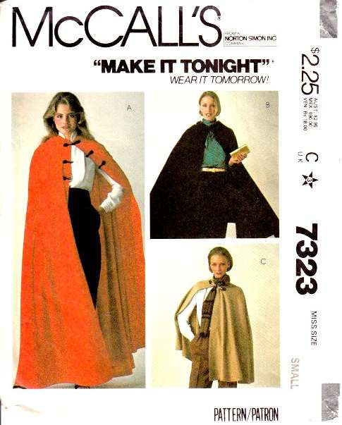 McCalls 7323 Cape, Cloak, LOTR, Ren Faire Costume Sewing Pattern
