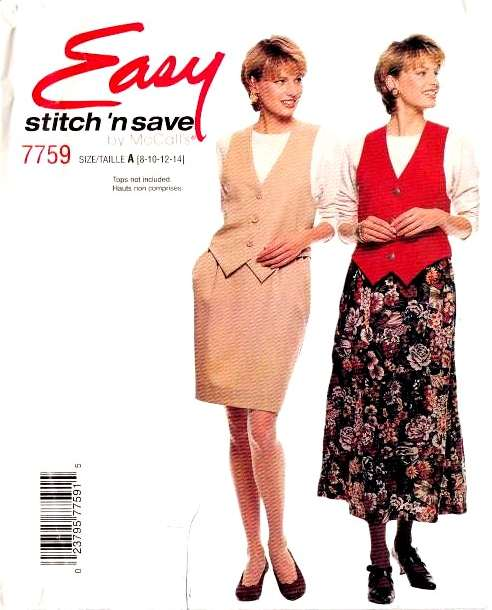 McCalls 7759, Lined Vest, sewing, pattern, Pull-on Skirt, Skirt