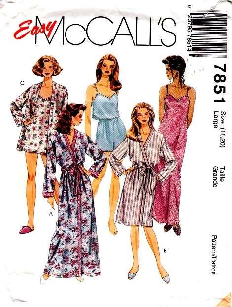 McCalls 7851 Plus Size Sleepwear Sewing Pattern