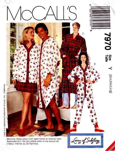 Lanz of Salzburg, NIGHTSHIRT, PJs, Pajamas, PULL-ON PANTS, SHORTS AND ROBE: sewing, pattern