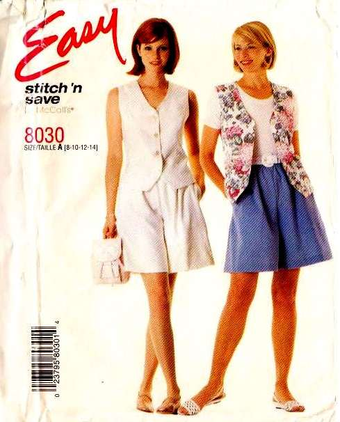 McCalls 8030, shorts, sewing, pattern, vest, top