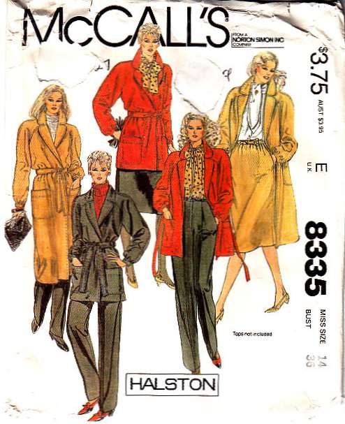 McCalls 8335 Pattern pants skirt coat jacket