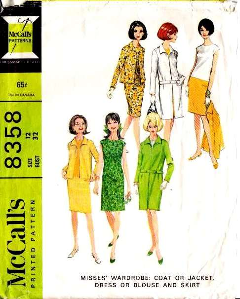 McCalls 8358 60s coat jacket dress blouse skirt Vintage Sewing Pattern