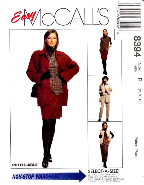 McCalls 8394, Sewing, Pattern, Jacekt, Vest, Skirt, Pull-on Pants