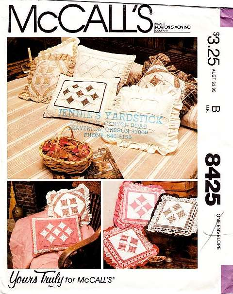 McCalls 8425 Cathederal Window Pillow Sewing Pattern