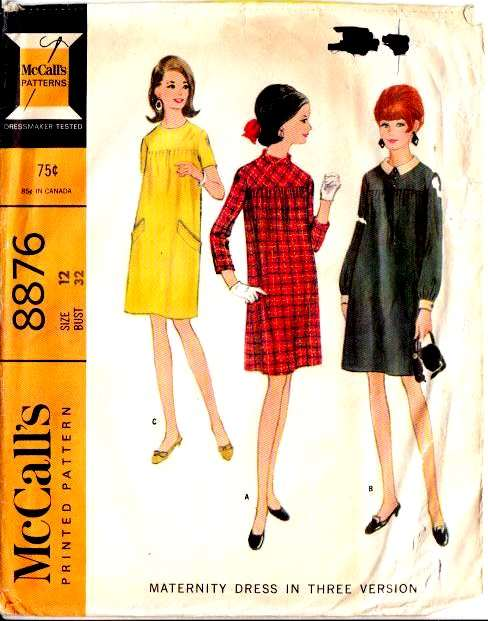 McCalls 8876 60s Maternity Dress Vintage Sewing Pattern