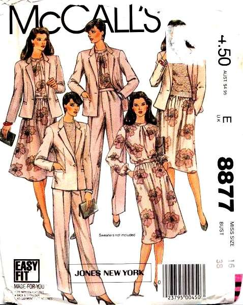 McCalls 8877 Jacket Blouse Skirt Pants Sewing Pattern