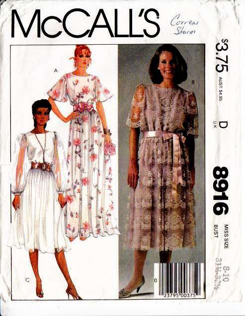 McCalls 8916 Prom, Wedding, MOB, Dress, Vintage, Sewing, Pattern