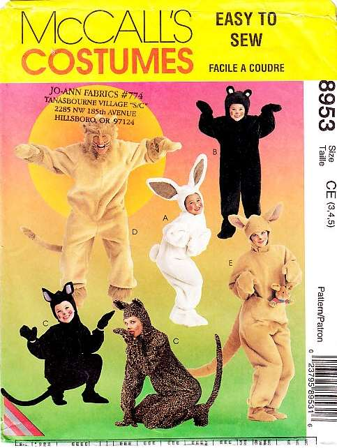 McCalls 8953 Lion Bear Bunny Kangeroo cat Costume pattern