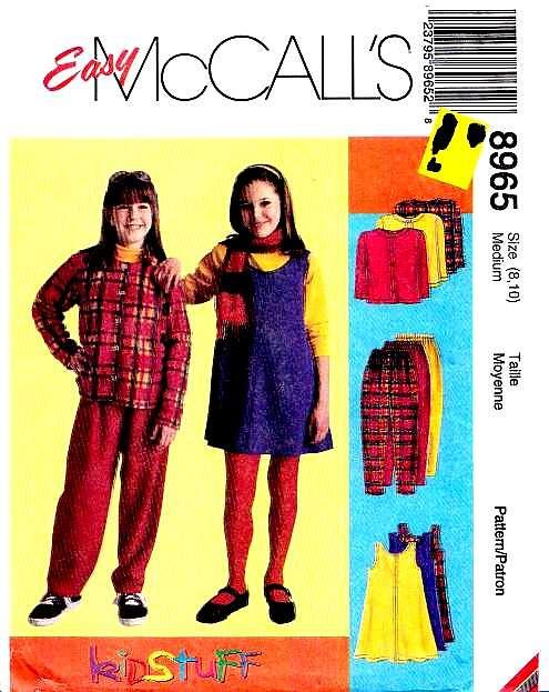 McCalls 8965 Girls Jacket Dress Pants Sewing Pattern