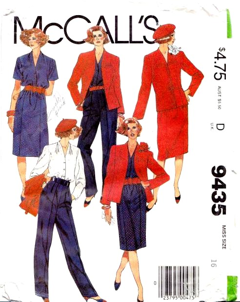 McCalls 9435 Fitted Jacket Blouse Skirt Pants Sewing Pattern