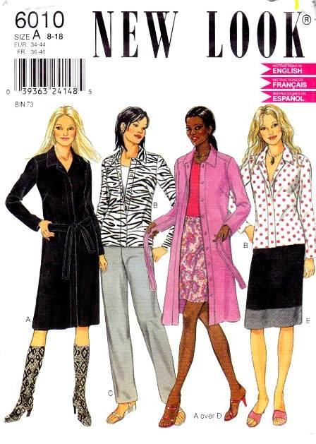 New Look 6010 Shirt Dress Pants Sewing Pattern