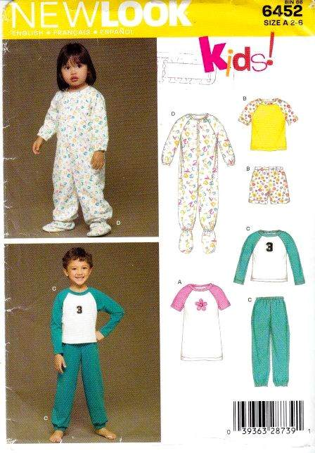 New Look 6452 childs pajamas sewing pattern