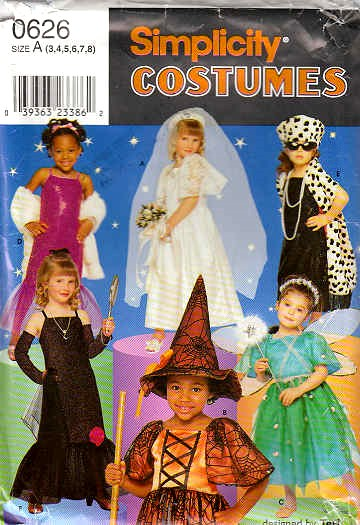 Simplicity 0626 Princess Witch Bride Costume Sewing Pattern Ch