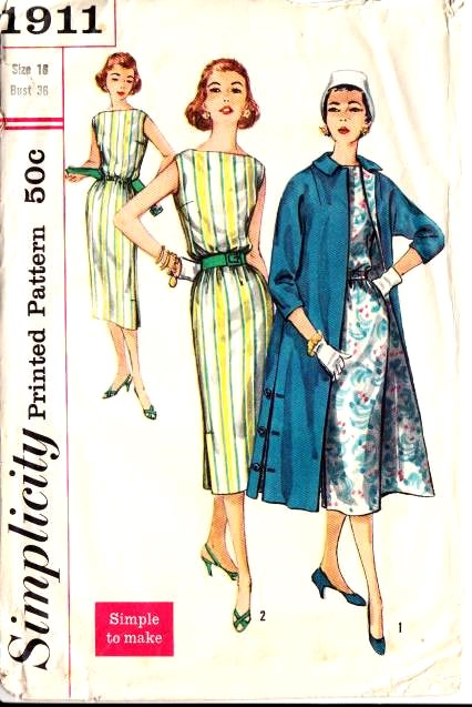 Simplicity 1911 1950s Dress Sewing Pattern
