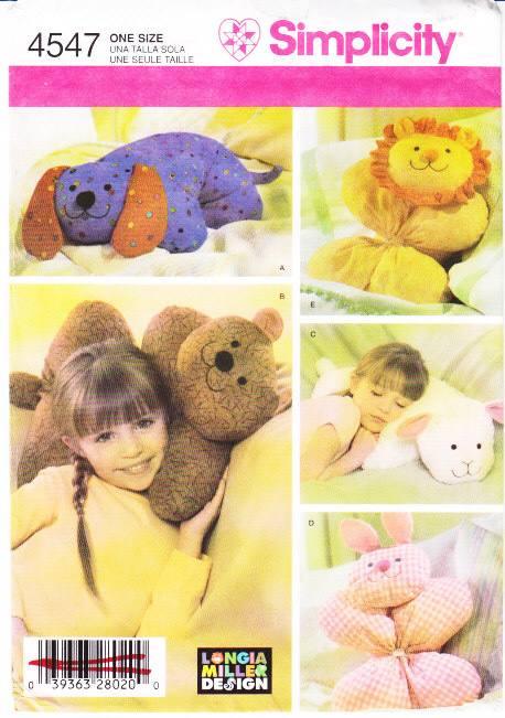 Simplicity 4547 dog bear lamb bunny lion pillow sewing pattern