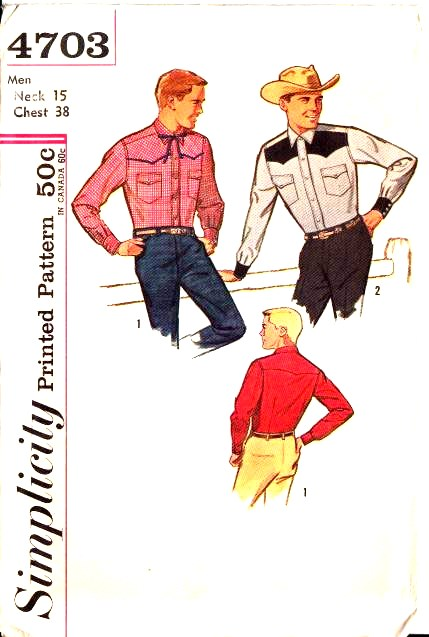 Simplicity 4703, Vintage, 60s, Sewing, Pattern, Western Shirt, Retro