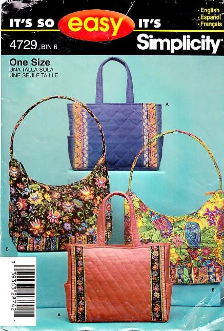 Simplicity 7098 Tote Bag Sewing Pattern