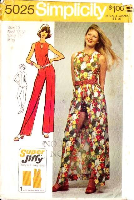 Simplicity 5025 70s Jumpsuit, Romper, Wrap Skirt Sewing Pattern