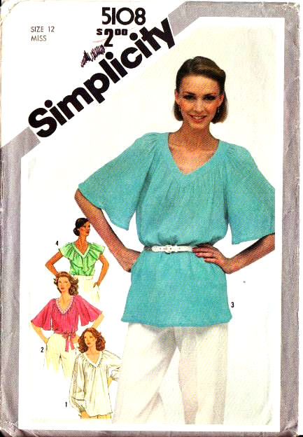 Simplicity 5108 Flutter Sleeve Tunic Top Sewing Pattern 12 B34 U
