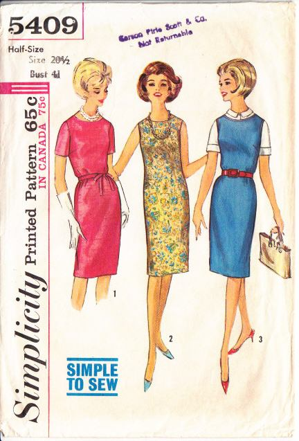 Simplicity 5409 60s Half-Size Sleeveless Jumper, Dress Sewing Pa