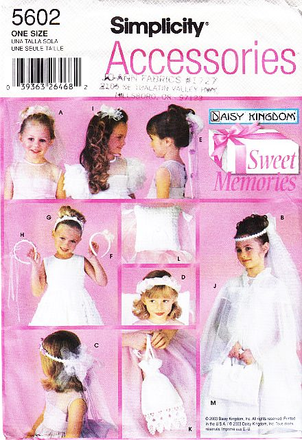 Simplicity 5602 Flower Girl Communion Accessories Sewing Pattern