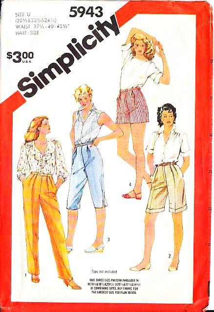Simplicity 5943 Capris Pants Shorts Plus Size Sewing Pattern