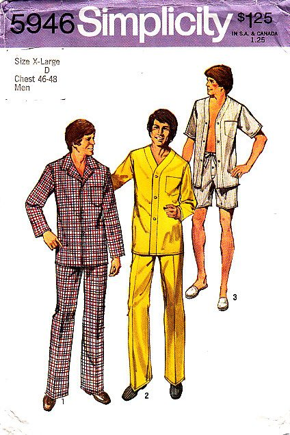 Simplicity 5946 Mens Pajamas Sewing Pattern