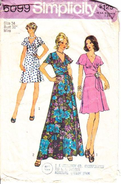 Simplicity 6099 Flutter Sleeve Disco Wrap Dress Sewing Pattern