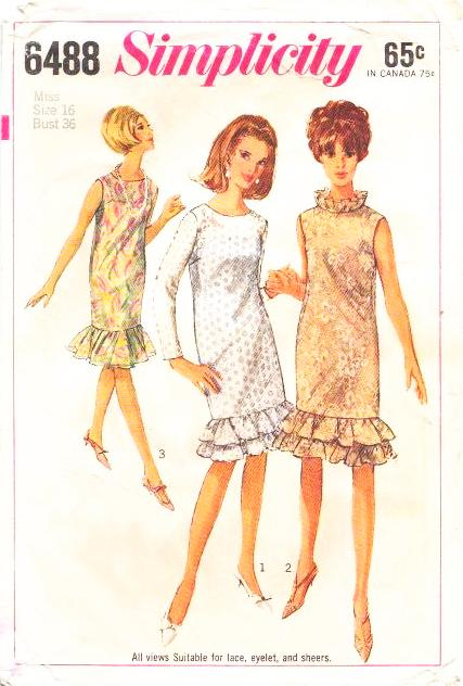 Simplicity 6488 Ruffled Cocktail Dress Sewing Pattern