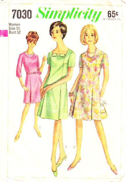 Simplicity 7030 Plus Size 1960s Womens Square Neck A Line
