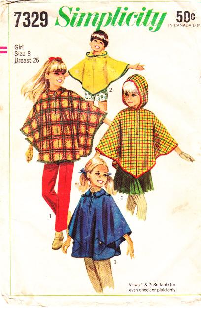 Simplicity 7329 Cape Cloak Sewing Pattern Girls 8 B26 Used