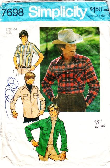 Simplicity 7698 Mens Button Front Shirt Sewing Pattern