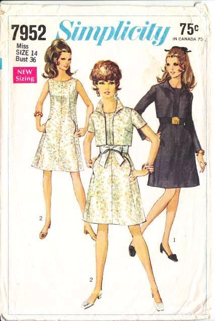 Simplicity 7952, A-line, Dress, Jacket, 60s, Sewing Pattern