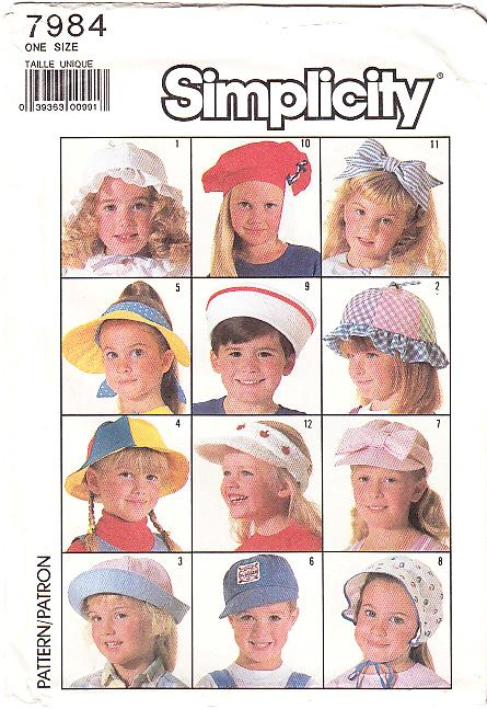 simplicity 7984 Childs Hat Sewing Pattern