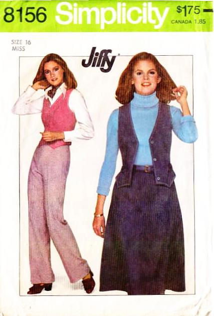 Simplicity 8156, Vest, Pants, Skirt Sewing Pattern